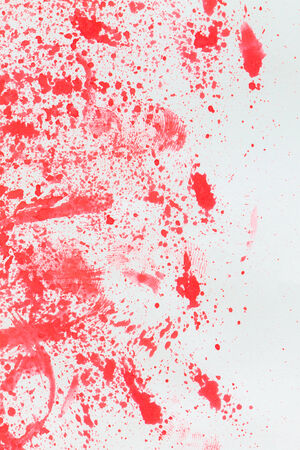 bloodstains: Distribution of color and Fingerprint on white paper background