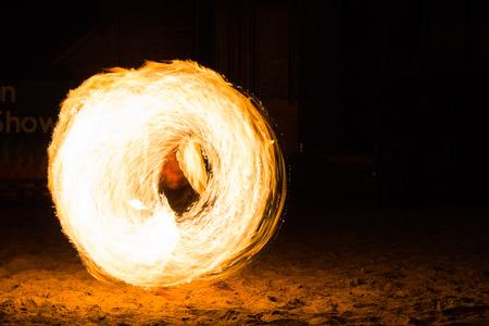kood: Man Fire Show on the beach ,Koh Kood ( Kood island ) THAILAND