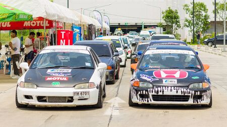undefined: CHIANG MAI, THAILAND - JUNE 06: Undefined Drivers race wheel-to-wheel on Raceway (Temporary street ) , JUNE 06, 2015 in Chiang Mai, Thailand. Editorial