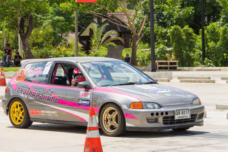 raceway: CHIANG MAI, THAILAND - JUNE 07: Undefined Drivers race wheel-to-wheel on Raceway (Temporary street ) , JUNE 07, 2015 in Chiang Mai, Thailand.