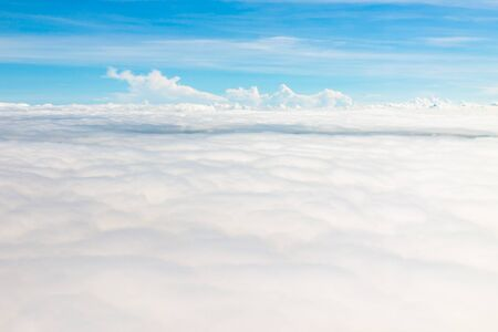 sky and clouds: Top view from The airplane blue sky and white cloud