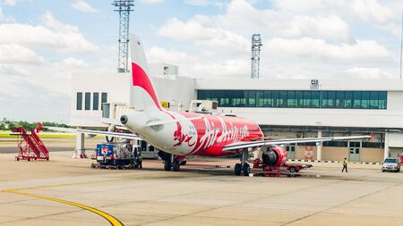 boing: BANGKOK, THAILAND - August 22 : Airplane at Don Mueang International Airport on August 22 2015 in Bangkok, Thailand.