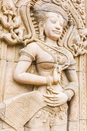 apsara: Apsara carvings statue on the wall of Cambodian art