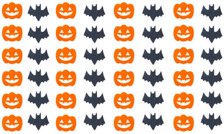 halloween pattern: Halloween pattern background with Set of pumpkins and Bats