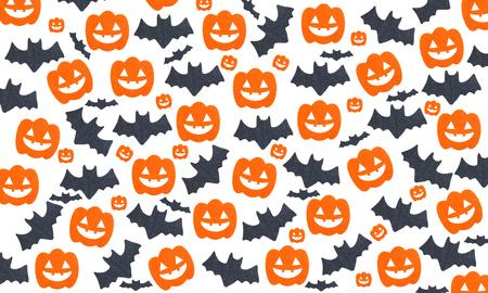Halloween patroon achtergrond met Set van pompoenen en vleermuizen