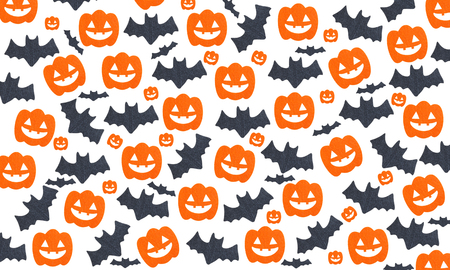 Halloween pattern background with Set of pumpkins and Bats