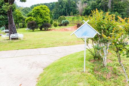 plaque: Empty plaque put in the large garden