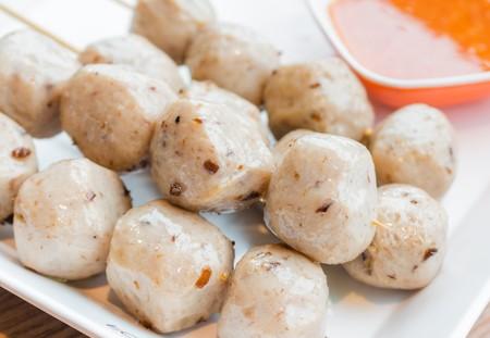 close up food: close up Mushroom ball, vegetarain food Stock Photo