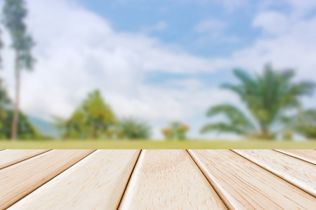 Empty Wooden deck table over beautiful nature background