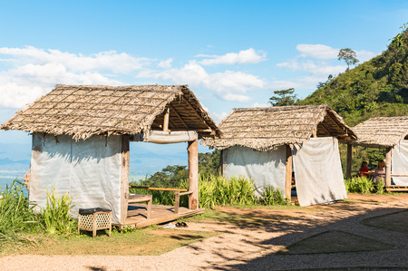 thatched: Thai style pavilion with thatched roof on The Hill