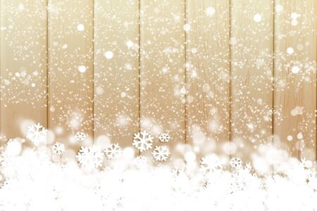 brochure cover: Snow fake on the colorful wooden background