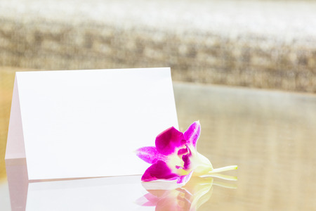 advertise: Blank white card and orchids