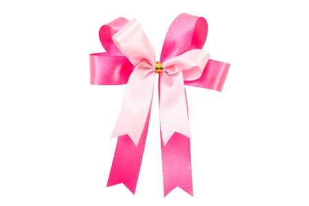 clipping: Pink ribbon bow isolate on white with Clipping path