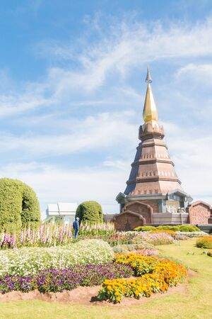 phon: Chiang mai - Thailand - Feb 8 2016 :  Phra Maha Dhatu Nabhamethanidol and Nabhapolbhumisiri at Chiangmai Thailand