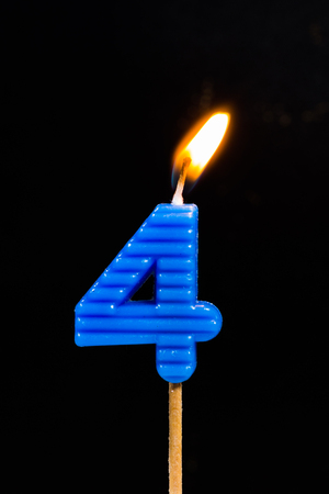 number 4: Birthday-anniversary candles showing Number. 4
