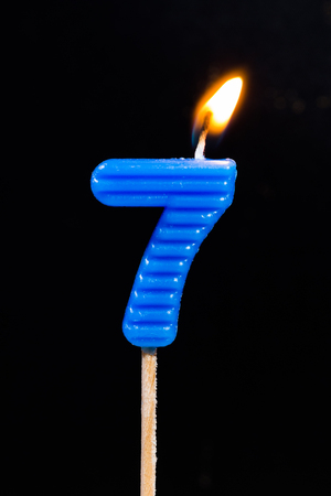 number 7: Birthday-anniversary candles showing Number. 7