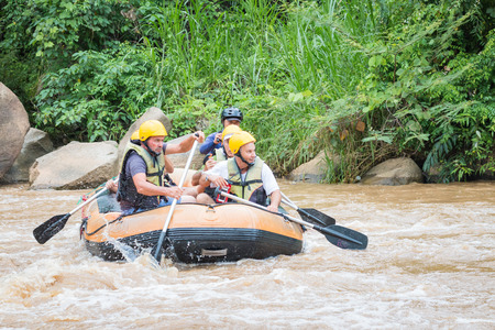 persevere: CHIANG MAI , THAILAND - June 15  : Whitewater rafting on the rapids of  Maetang river on June 15, 2016 in Chiang Mai, Thailand