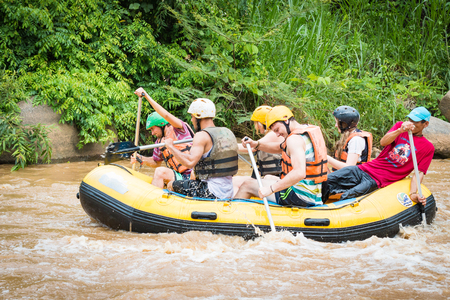 whitewater: CHIANG MAI , THAILAND - June 15  : Whitewater rafting on the rapids of  Maetang river on June 15, 2016 in Chiang Mai, Thailand