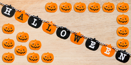 Halloween flags , black and orange flags on wooden background Stock Photo