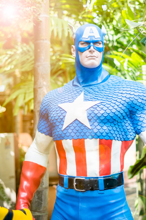 avenger: Chiang Mai , Thailand - Oct 13 : Close up Captain America model in The Garden on October 13 , 2016 in Chiang Mai, Thailand Editorial
