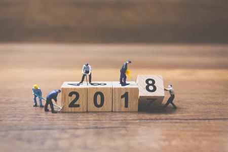 미니어처 작업자 팀 건물 목조 블록 번호 2018 목조 배경