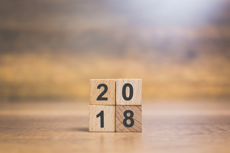 Wooden block number 2018 on wooden background