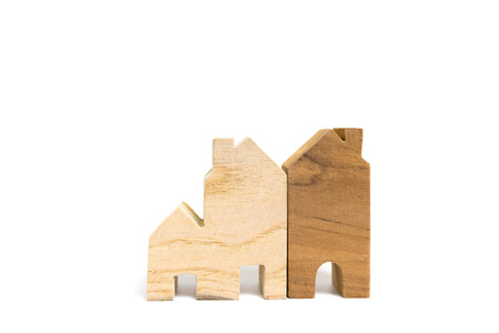 Toy wooden house model isolated on white background