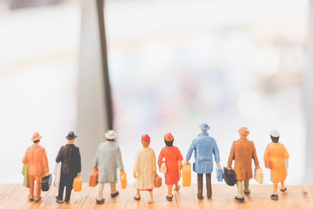 Miniature people : Travellers walking on The bridge , Holiday and Travel concept Stock Photo