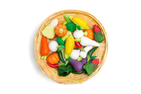 Vegetable handmade from plasticine clay placed on white background Stock Photo