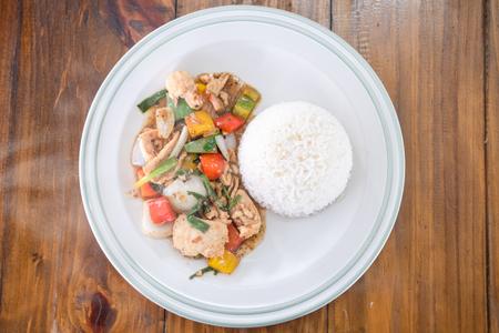 Fried Stir chicken with black pepper  , Thai food Stock Photo