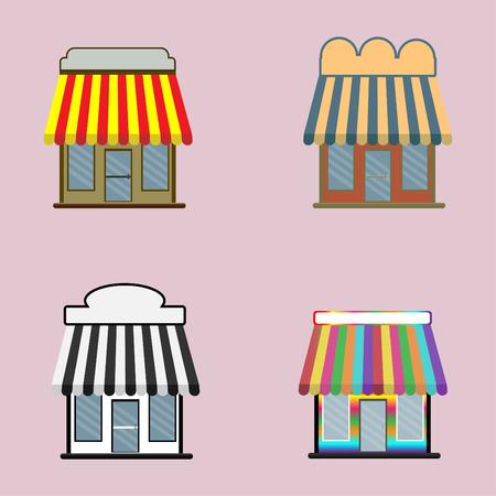 Set of shop cartoon icon isolated on pink background , vector illustration 일러스트