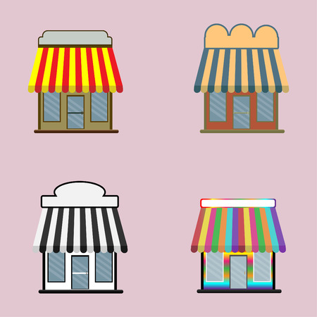 Set of shop cartoon icon isolated on pink background , vector illustration Ilustração