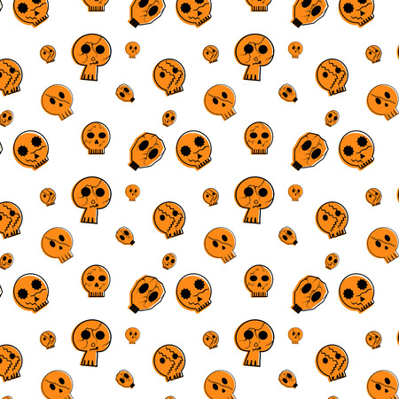 Halloween festive seamless pattern. Endless background with cute skull Vector illustration