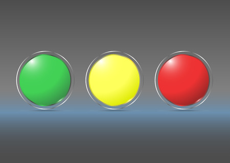 Glass marbles with yellow, green, red , glass banner vector illustration