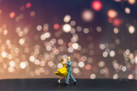 Miniature people , Couple dancing with bokeh background , Valentine's day concept Stok Fotoğraf