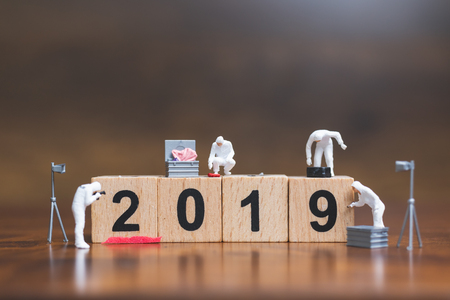 Miniature people :Crime Scene Investigation on wooden block Number 2019