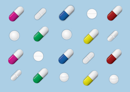 Set of different pills and capsules isolated on blue background , vector illustration