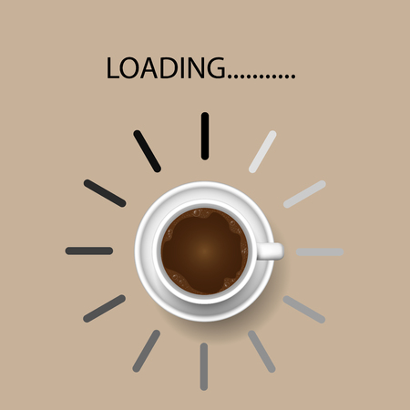 Coffee cup with funny progress bar Productivity loading, awakeness-related concept , Vector Illustration 向量圖像