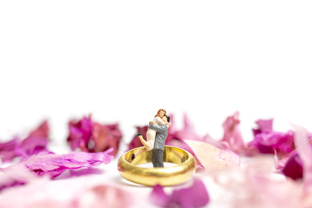 Miniature people : Couple hug in The pink garden with a wedding ring isolate on white background Banque d'images - 117746109