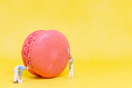 Miniature people :  Painters coloring macaroon on yellow background