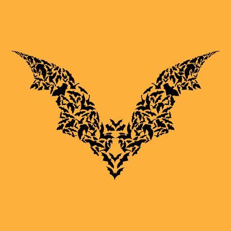 Flying Bat silhouette Halloween concept on yellow background Ilustração