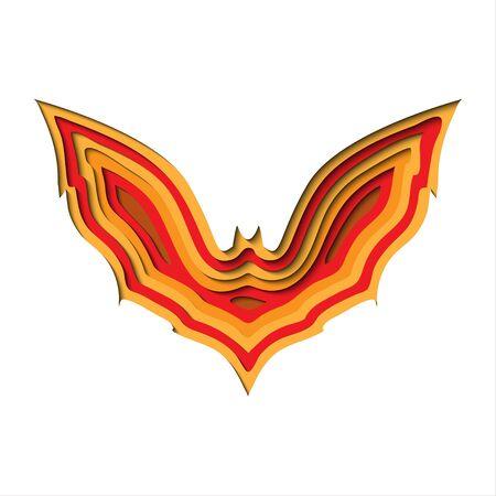 Flying Bat paper cut style Halloween concept , vector illustration Ilustração