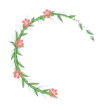 Branches with  leaves and flowers on a white background. Frame for postcards decorations.