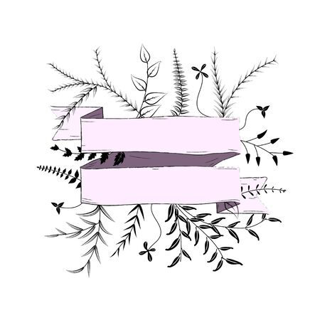 Pink Banner  with silhouette Branches on a white  background