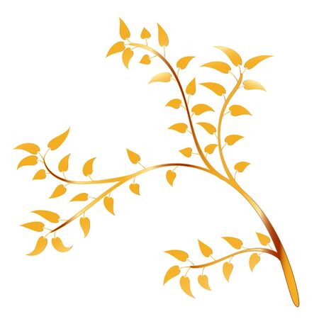 Golden Tree and leaf  Isolated On white Background, Vector Illustration