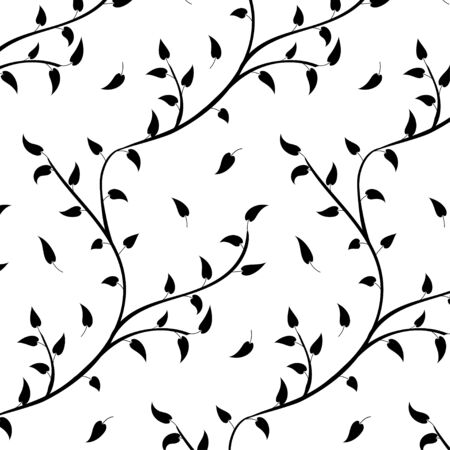 Seamless retro tree and leaf pattern  Isolated On white Background, Vector Illustration