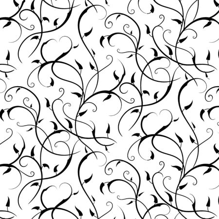 Abstract black Branches with  leaves  pattern on white  background.