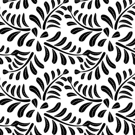 Abstract black Branches with  leaves  pattern on white  background.  Ilustrace