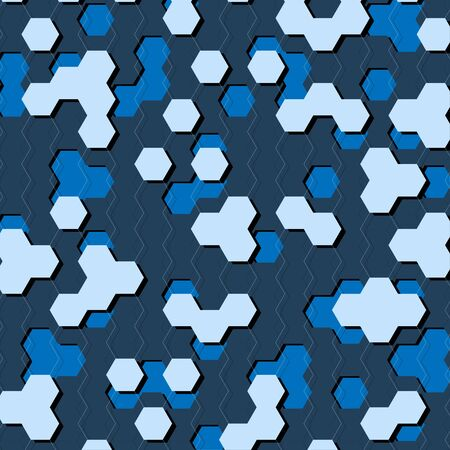 Blue hexagons geometric pattern background, vector illustration