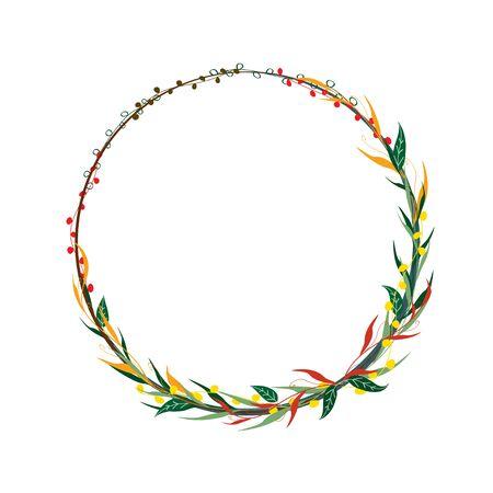 Floral border frame template design. Vector illustration.